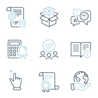 Time management, Touchscreen gesture and Technical info line icons set. Diploma certificate, save planet, group of people. Calculator alarm, Packing boxes and Settings blueprint signs. Vector icon