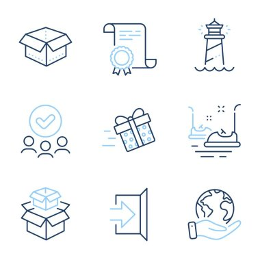 Lighthouse, Packing boxes and Present delivery line icons set. Diploma certificate, save planet, group of people. Bumper cars, Open box and Exit signs. Vector icon