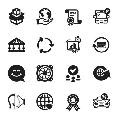Set of Technology icons, such as Refund commission, Smile face. Certificate, approved group, save planet. Bus parking, Carousels, Car leasing. Packing boxes, Computer fan, Face id. Vector icon