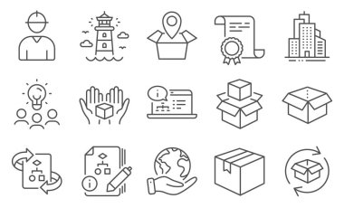Set of Industrial icons, such as Hold box, Packing boxes. Diploma, ideas, save planet. Lighthouse, Parcel, Technical algorithm. Open box, Online documentation, Skyscraper buildings. Vector icon