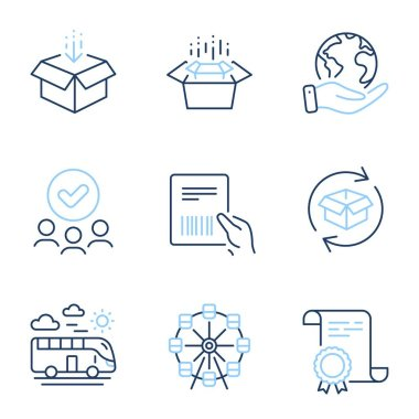 Ferris wheel, Return parcel and Get box line icons set. Diploma certificate, save planet, group of people. Parcel invoice, Bus travel and Packing boxes signs. Vector icon