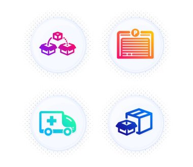 Parcel shipping, Parking garage and Ambulance emergency icons simple set. Button with halftone dots. Packing boxes sign. Send box, Automatic door, Medical transport. Delivery box. Vector icon