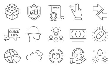 Set of Business icons, such as Packing boxes, Capsule pill. Diploma, ideas, save planet. Cash money, Synchronize, Parcel tracking. Medical tablet, Cloudy weather, Face scanning. Vector icon