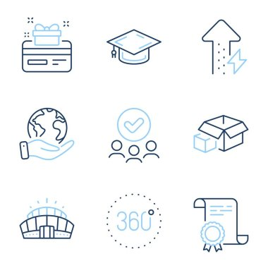 Energy growing, Loyalty card and Graduation cap line icons set. Diploma certificate, save planet, group of people. 360 degrees, Packing boxes and Arena stadium signs. Vector icon