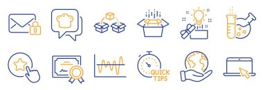 Set of Business icons, such as Stock analysis, Portable computer. Certificate, save planet. Loyalty star, Chemistry lab, Packing boxes. Cooking hat, Parcel shipping, Secure mail. Vector icon