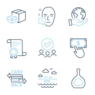 Cognac bottle, Face attention and Swimming pool line icons set. Diploma certificate, save planet, group of people. Payment click, Cashback card and Packing boxes signs. Vector icon