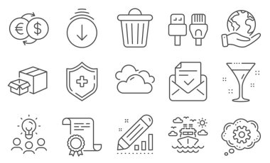 Set of Business icons, such as Computer cables, Edit statistics. Diploma, ideas, save planet. Money exchange, Scroll down, Cloudy weather. Ship travel, Approved mail, Packing boxes. Vector icon