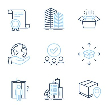 Parcel tracking, Elevator and Skyscraper buildings line icons set. Diploma certificate, save planet, group of people. Parcel delivery, Buildings and Packing boxes signs. Vector icon