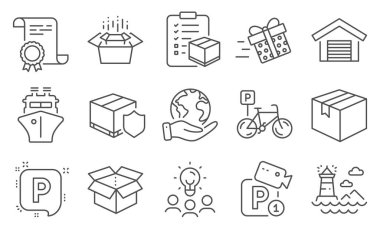 Set of Transportation icons, such as Ship, Lighthouse. Diploma, ideas, save planet. Parking garage, Bicycle parking, Open box. Present delivery, Packing boxes, Delivery insurance. Vector icon