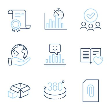 Report timer, Attachment and Smile line icons set. Diploma certificate, save planet, group of people. 360 degrees, Love book and Packing boxes signs. Vector icon
