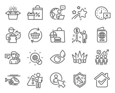 Business icons set. Included icon as Packing boxes, Refresh cart, Time signs. People, Crown, Eye drops symbols. Medical helicopter, User, Spanner. Passport, Income money, Shopping. Vector icon