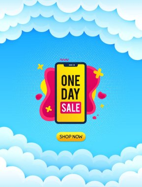 One day sale banner. Cloud sky background with offer message. Discount sticker shape. Special offer phone icon. Best advertising coupon cloud banner. One day badge shape. Blue sky background. Vector icon