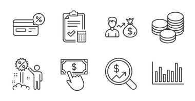 Tips, Bar diagram and Payment click line icons set. Currency audit, Accounting checklist and Cashback signs. Discount, Sallary symbols. Cash coins, Statistics infochart, Financial transfer. Vector icon