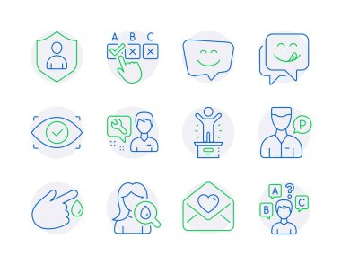 People icons set. Included icon as Repairman, Blood donation, Biometric eye signs. Love letter, Yummy smile, Correct checkbox symbols. Valet servant, Winner podium, Security. Smile face. Vector icon