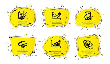 Certificate, Cloud computing and Chart icons simple set. Yellow speech bubbles with dotwork effect. Prescription drugs, Seo analysis and Statistics signs. Vector icon