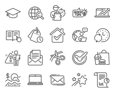 Education icons set. Included icon as Sales diagram, Messenger mail, Notebook signs. Confirmed, Update time, Time management symbols. Report, Mail correspondence, Education idea. Scissors. Vector icon