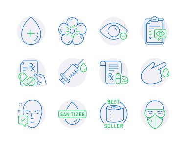 Healthcare icons set. Included icon as Medical prescription, Hand sanitizer, Face accepted signs. Medical syringe, Natural linen, Eye checklist symbols. Prescription drugs, Oil serum. Vector icon