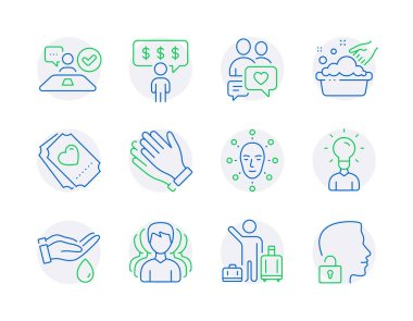 People icons set. Included icon as Dating chat, Hand washing, Airport transfer signs. Wash hands, Group, Education symbols. Job interview, Love ticket, Face biometrics. Clapping hands. Vector icon