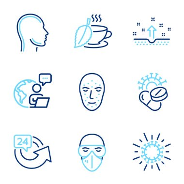 Medical icons set. Included icon as Medical mask, Head, 24 hours signs. Clean skin, Coronavirus, Mint tea symbols. Coronavirus pills, Face biometrics line icons. Line icons set. Vector icon