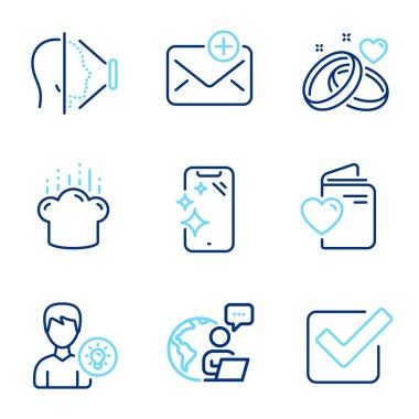 Business icons set. Included icon as Person idea, Love document, Smartphone clean signs. Cooking hat, Marriage rings, Checkbox symbols. New mail, Face id line icons. Line icons set. Vector icon