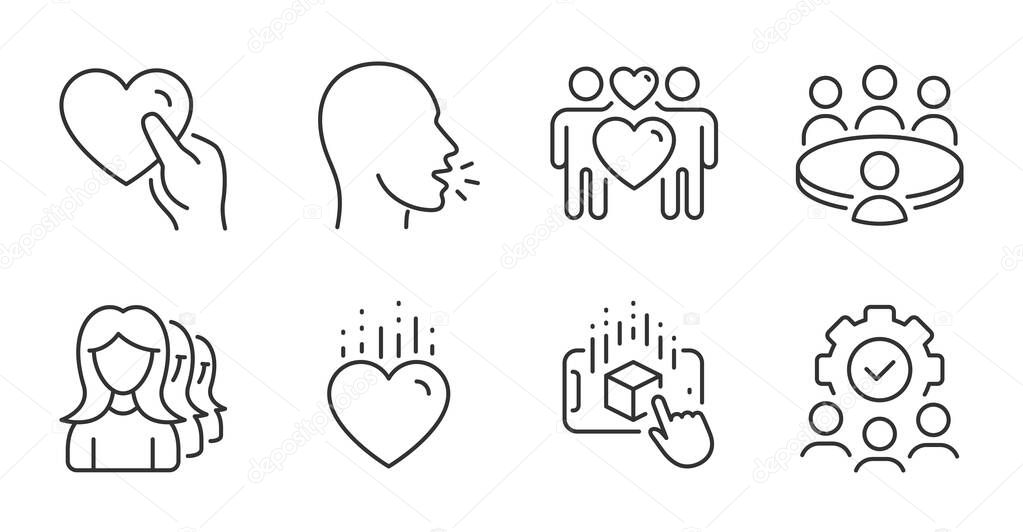 Meeting, Cough and Heart line icons set. Love couple, Augmented reality and Hold heart signs. Teamwork, Women headhunting symbols. Human resource, Coronavirus symptom, Love. People set. Vector icon