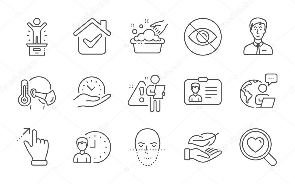 Hand washing, Safe time and Businessman person line icons set. Touchscreen gesture, Face recognition and Working hours signs. Winner podium, Not looking and Identification card symbols. Vector icon
