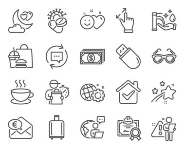 Line icons set. Included icon as Certificate, Coronavirus pills, Update comments signs. Smile, Baggage reclaim, Washing hands symbols. Usb stick, Sunglasses, Euro money. Cappuccino. Vector icon