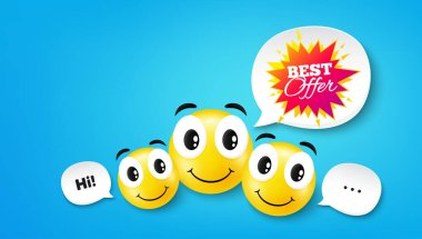Best offer sticker. Smile face with speech bubble. Discount banner shape. Sale coupon bubble icon. Smile face character. Best offer speech bubble icon. Chat background. Vector icon