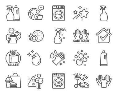 Cleaning icons set. Included icon as Washing machine, Toilet paper, Hold t-shirt signs. Clean bubbles, Dryer machine, Vacuum cleaner symbols. Spray, Dishwasher timer, Shampoo. Water drop. Vector icon