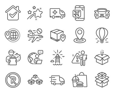Transportation icons set. Included icon as Car, Ambulance emergency, Parcel shipping signs. Location, Lighthouse, Truck delivery symbols. Packing boxes, Flight mode, World travel. Get box. Vector icon