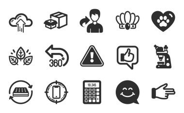 Packing boxes, Pets care and Microscope icons simple set. Crown, Cloud upload and Mattress signs. Organic tested, Click hand and Smile face symbols. 360 degrees, Like and Calculator. Vector icon