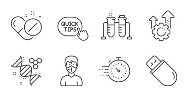 Chemistry dna, Medical mask and Timer line icons set. Seo gear, Medical pills and Chemistry beaker signs. Usb stick, Quick tips symbols. Chemical formula, Respirator, Deadline management. Vector icon
