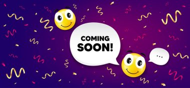 Coming soon. Smile face with speech bubble. Promotion banner sign. New product release symbol. Smile character with confetti. Coming soon speech bubble icon. Yellow face background. Vector icon