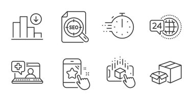 Augmented reality, 24h service and Packing boxes line icons set. Star rating, Seo file and Cooking timer signs. Decreasing graph, Medical help symbols. Quality line icons. Vector icon