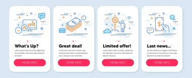Set of Finance icons, such as Discount, Dollar, Candlestick chart symbols. Mobile screen app banners. Receive money line icons. Sale shopping, Usd currency, Report analysis. Cash payment. Vector icon