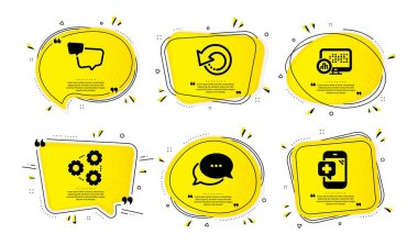 Dots message, Report statistics and Gears icons simple set. Yellow speech bubbles with dotwork effect. Recovery data, Speech bubble and Medical phone signs. Vector icon