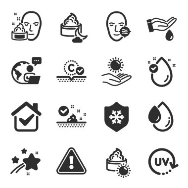 Set of Beauty icons, such as Skin care, Wash hands, Uv protection symbols. Sun protection, Sun cream, Collagen skin signs. Night cream, Vitamin e, Oil drop flat icons. Flat icons set. Vector icon