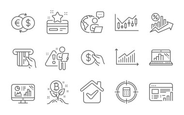 Loyalty card, Payment and Credit card line icons set. Web report, Calculator target and Analytics graph signs. Money exchange, Graph and Bitcoin project symbols. Line icons set. Vector icon