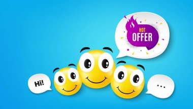 Hot offer banner. Smile face with speech bubble. Discount sticker shape. Coupon tag icon. Smile face character. Hot offer speech bubble icon. Chat background. Vector icon