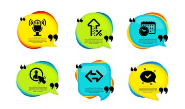 Increasing percent, User and Microphone icons simple set. Speech bubble with quotes. Calendar time, Sync and Approved signs. Discount, Project manager, Mic. Clock, Synchronize, Chat message. Vector icon