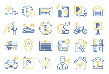 Parking line icons. Car garage, Valet servant and Paid transport parking icons. Video monitoring, Bike or Car park and Truck or Bus transport garage. Money payment, Map pointer and Free park. Vector icon
