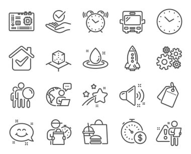 Technology icons set. Included icon as Last minute, Smile chat, Approved signs. Augmented reality, Sale tags, Motherboard symbols. Search people, Loud sound, Time. Fuel energy, Alarm clock. Vector icon