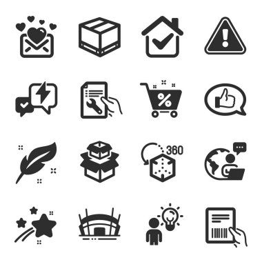 Set of Business icons, such as Augmented reality, Feather, Group people symbols. Feedback, Love mail, Lightning bolt signs. Loan percent, Delivery box, Packing boxes. Repair document. Vector icon