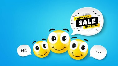 Sale 50% off banner. Smile face with speech bubble. Discount sticker shape. Coupon tag icon. Smile face character. Sale 50% speech bubble icon. Chat background. Vector icon