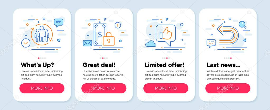 Set of Technology icons, such as Teamwork, Private payment, Like symbols. Mobile app mockup banners. Undo line icons. Employees change, Secure finance, Thumbs up. Left turn. Teamwork icons. Vector icon