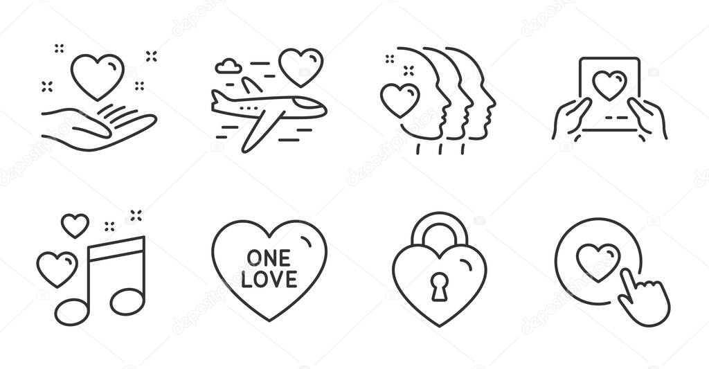 Love mail, Hold heart and Friends couple line icons set. Love lock, Honeymoon travel and Like button signs. Valentine letter, Friendship, Bridge locker. Love set. Quality line icons. Vector icon