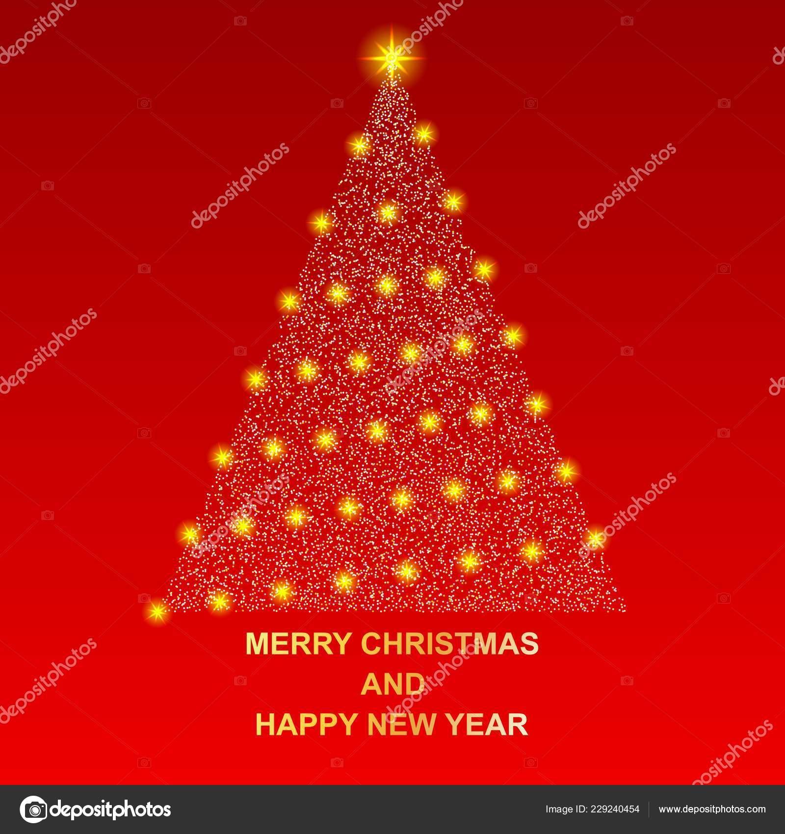 Merry Christmas Happy New Year Shiny New Year Tree Beautiful — Stock ...