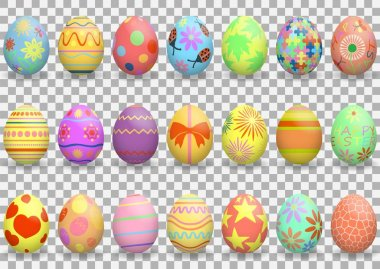 Easter. Set of colorful realistic Easter eggs with patterns. Decoration for the holiday. Isolated on transparent background. Vector illustration. EPS10