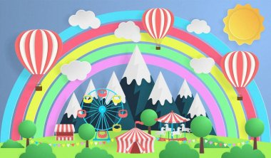 Paper art. Outdoor amusement Park. Tent, carousel, Ferris wheel for family holidays. Snow-capped mountains in the background.
