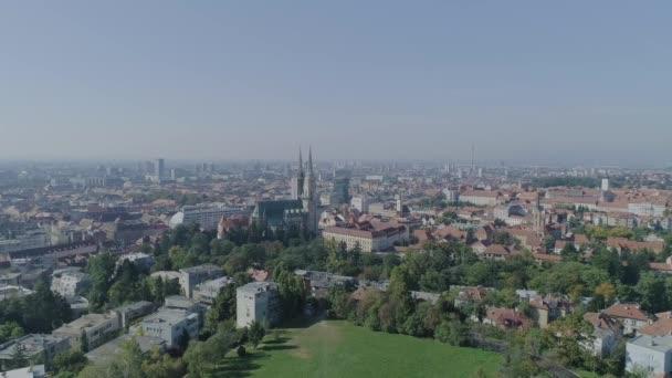 Letecké panorama města od Salata Zagreb, Chorvatsko